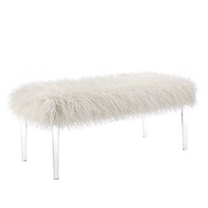 Flokati White Acrylic Leg Bench