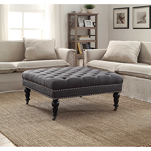 Isabelle Charcoal Square Tufted Ottoman