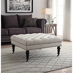 Isabelle Natural Square Tufted Ottoman