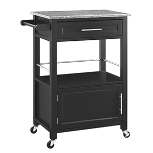 Mitchell Black Kitchen Cart with Granite Top