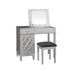 Lattice Silver Vanity Set