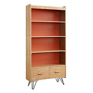Perry Natural and Orange Bookcase with Drawer