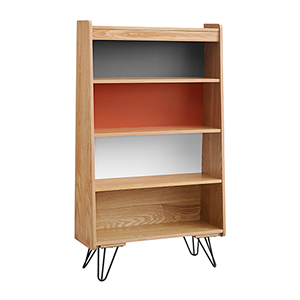 Perry Natural, Charcoal, Orange, and White Bookcase