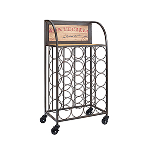 Black and Brown Wine Rack with Wheels