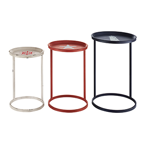 Blue, Red, and White Nautical Table, Set of Three