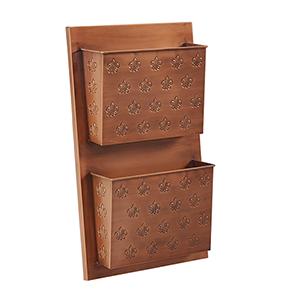 Fleur-de-lis Copper Two Slot Wall Mailbox