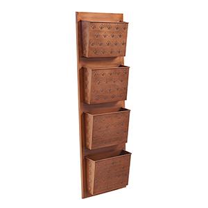 Fleur-de-lis Copper Four Slot Wall Mailbox