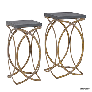 Gold and Gray Nesting Table, Set of Two
