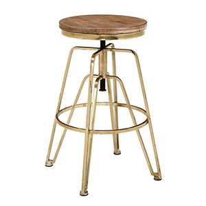 Brown and Gold 25-Inch Adjustable Stool
