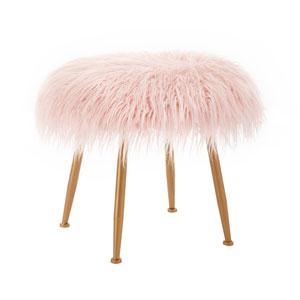 Arlo Pink Fur Stool