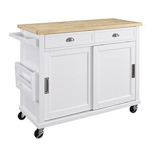 Sherman White Kitchen Cart