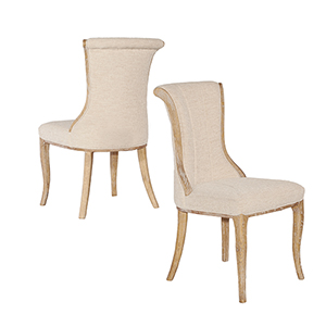 Sheffield Light Natural Brown Linen Flared Back Chairs - Set of Two