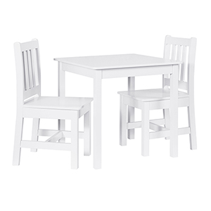 Jaydn White Kid Table and Two Chairs Set