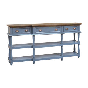 Simpson Mahogany Clean and Archipelago Blue 72-Inch Four-Drawer Console Table