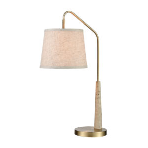 Regina Antique Brass and Coastal Bleached Wood 16-Inch Table Lamp