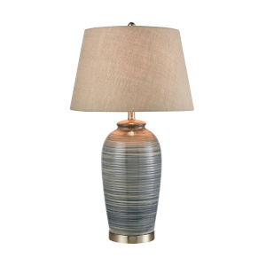 Monterey Blue Glaze and Satin Nickel 17-Inch Table Lamp