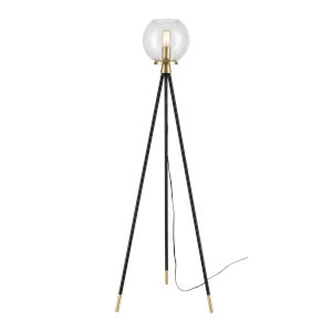 Union Black and Satin Brass and Clear 20-Inch Floor Lamp