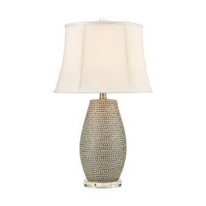 Port Lewick Gray Silver Grey Galze Clear Crystal One-Light Table Lamp