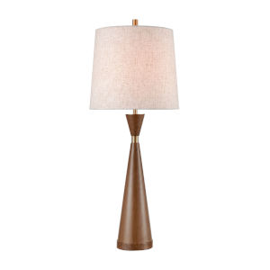 Wappinger Brown Burlwood Aged Brass One-Light Table Lamp