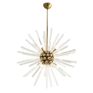 Hanley Clear Eight-Light Large Chandelier with Antique Brass Stem