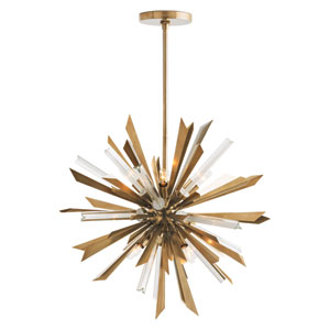 Waldorf Antique Brass 20-Inch Eight-Light Pendant