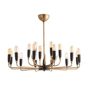Hardy Antique Brass Eighteen-Light Chandelier