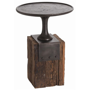 Anvil Cast Iron and Reclaimed Wood Occasional Table