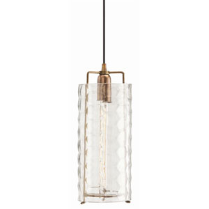 Ice Faceted Large Clear Glass Pendant