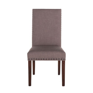 Bristol Walnut Gray Upholstered Chair, Set of Two