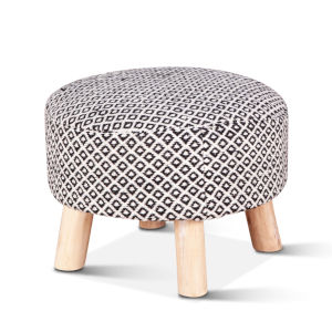 Algiers Gray and Natural Handloom Durry Stool