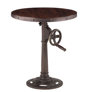 Artezia Dark Walnut And Antique Zinc Round Adjustable Side Table