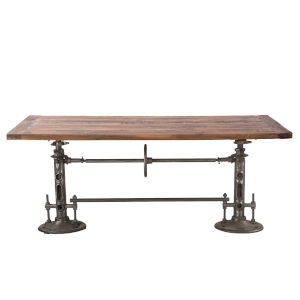 Artezia Reclaimed Walnut And Gunmetal Adjustable Dining Table