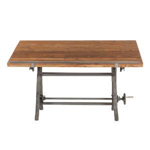 Artezia Natural and Gun Metal Drafting Desk