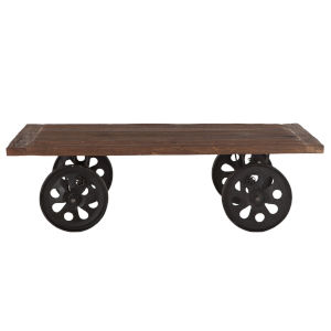 Artezia Natural and Antique Zinc Coffee Table with Wheels