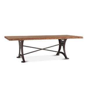 Blayne Raw Walnut and Antique Zinc 106-Inch Rectangle Live Edge Dining Table