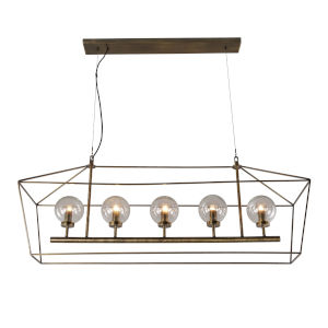Bali Dark Antique Brass Five-Light Chandelier