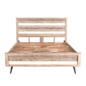 Newport Whitewash Weathered Gray and Antique Black King Bed