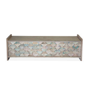 Cordoba Vintage Teal Reclaimed Teak Dining Bench with Storage