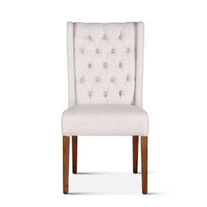 Chloe Off White and Natural Teak Dining Chair, Set of 2