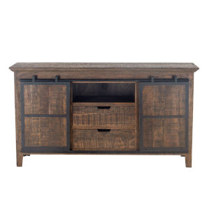 Dakota Bandsaw Teak And Distressed Black Sideboard With Sliding Door