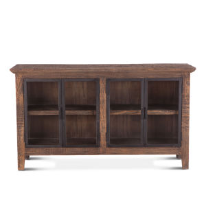 Dakota Bandsaw Teak And Distressed Black Sideboard With Glass Door