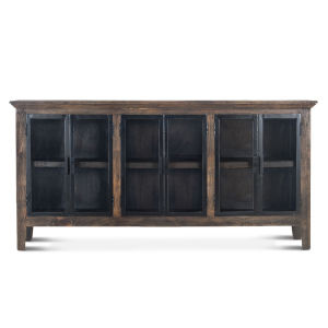 Dakota Weathered Teak And Black Rubbed Sideboard With Glass Door