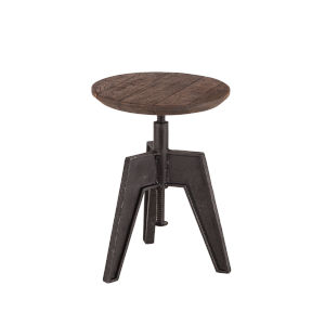 Dakota Weathered Teak And Black Rubbed Adjustable Stool