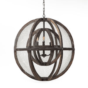 Element Matte Black Three-Light Led Globe Chandelier