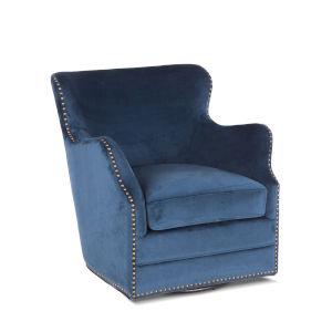 Garner Blue Swivel Armchair with Nailhead Trim