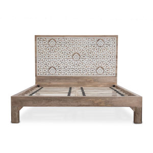 Haveli Natural Mango Wood Geometric Carved King Bed