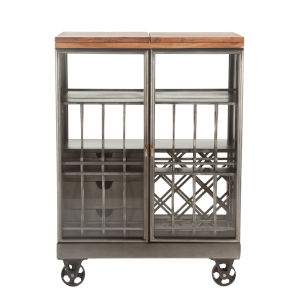 The Iron City Gun Metal 39-Inch Cabinet with Wheels