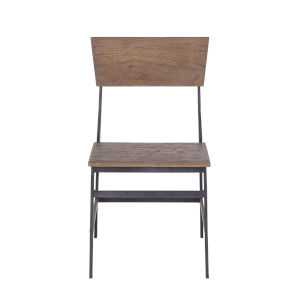 Edinburgh Weathered Teak and Gray Zinc Side Chair, Set of Two