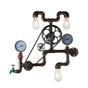 Element Powder Coated Black Three-Light Led Pipe And Gauge Wall Sconce