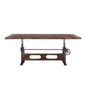 Welles Weathered Russet and Gun Metal 84-Inch Adjustable Reclaimed Teak Wood Dining Table